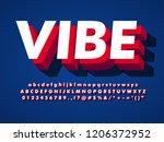 modern font  vibe 3d typeface... | Shutterstock .eps vector #1206372952