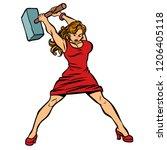 woman blacksmith in dress  big...   Shutterstock .eps vector #1206405118