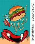 woman mouth eating a burger....   Shutterstock .eps vector #1206405142