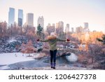 back view of woman enjoy the... | Shutterstock . vector #1206427378