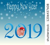 2019 chinese new year of the... | Shutterstock .eps vector #1206437608