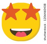 an excited emoji face showing... | Shutterstock .eps vector #1206460438
