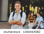 portrait of young student in... | Shutterstock . vector #1206465082