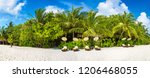 panorama of wooden sunbed on... | Shutterstock . vector #1206468055