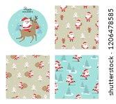 christmas set. seamless pattern ... | Shutterstock .eps vector #1206478585