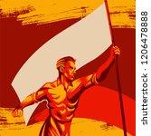 man holding blank flag vector... | Shutterstock .eps vector #1206478888