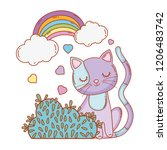 cute cat with rainbow clouds... | Shutterstock .eps vector #1206483742