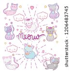 cute cats with kawaii clouds... | Shutterstock .eps vector #1206483745
