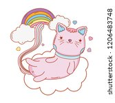 cute cat with rainbow and... | Shutterstock .eps vector #1206483748