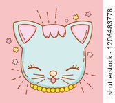 cute cat head with whiskers and ... | Shutterstock .eps vector #1206483778