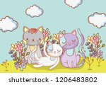 cute cats animals with clouds... | Shutterstock .eps vector #1206483802