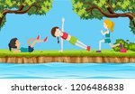 young woman exercise in nature... | Shutterstock .eps vector #1206486838