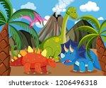 many dinosaur in nature... | Shutterstock .eps vector #1206496318