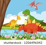 flat dinosaur in nature... | Shutterstock .eps vector #1206496342