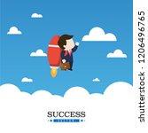 businessmen fly to success. | Shutterstock .eps vector #1206496765