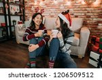 girlfriends chatting on the... | Shutterstock . vector #1206509512