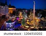 christmas fair in luxemburg.... | Shutterstock . vector #1206510202