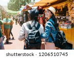 back view of two female... | Shutterstock . vector #1206510745