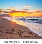 New Year 2013 Digits On Ocean...
