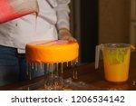 mousse yogurt cake. the girl... | Shutterstock . vector #1206534142