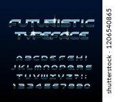 futuristic alphabet font.... | Shutterstock .eps vector #1206540865
