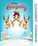 funny christmas greeting card ... | Shutterstock .eps vector #1206541375