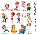 set of cute girl with various... | Shutterstock .eps vector #1206548335