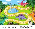 prehistoric dinosaurs boardgame ... | Shutterstock .eps vector #1206548425