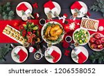 baked turkey. christmas dinner. ... | Shutterstock . vector #1206558052