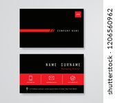 business card black and red... | Shutterstock .eps vector #1206560962