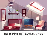 cozy attic bedroom or guest... | Shutterstock .eps vector #1206577438