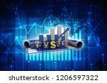 3d rendering global currencies... | Shutterstock . vector #1206597322