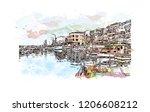 building view with landmark of... | Shutterstock .eps vector #1206608212