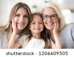 portrait of three generations... | Shutterstock . vector #1206609505