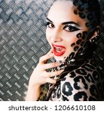 young sexy woman with leopard... | Shutterstock . vector #1206610108