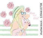 rose and girl   Shutterstock .eps vector #1206613738