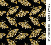 night moth seamless pattern.....   Shutterstock .eps vector #1206619492