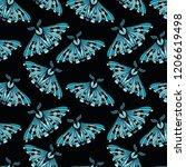 night moth seamless pattern.....   Shutterstock .eps vector #1206619498