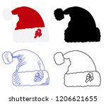 red santa claus hat set with... | Shutterstock .eps vector #1206621655