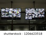 cctv system with two monitors... | Shutterstock . vector #1206623518