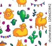 llamas characters hand drawn...   Shutterstock .eps vector #1206623842
