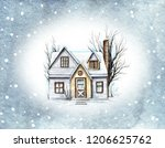 Winter Old House  Cottage With...