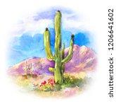 giant succulent carnegiea in... | Shutterstock . vector #1206641602