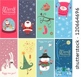 christmas banners with funny... | Shutterstock .eps vector #120664696