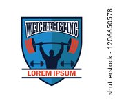 weight lifting logo with text... | Shutterstock .eps vector #1206650578