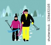 father and son with skis in the ... | Shutterstock .eps vector #1206652105