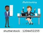 multitasking european female...   Shutterstock .eps vector #1206652255