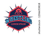 wrestling logo with text space... | Shutterstock .eps vector #1206653818