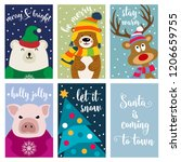 christmas card collection with... | Shutterstock .eps vector #1206659755