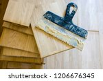 stack of wood parquet or... | Shutterstock . vector #1206676345